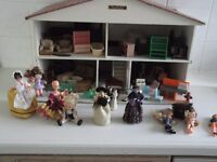 Swiss Chalet dolls house with collection of furniture