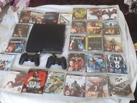 PS3 with 2 controllers and 24 games. Now reduced for quick sale.