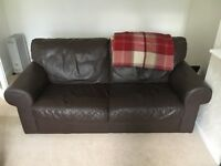 Matching brown leather sofas - free if collected this weekend