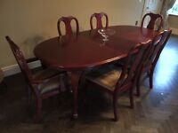Bueatiful Cherry Wood Dining table, 6 chairs, 2 Charver, 4 standard, Extending to take 8 people