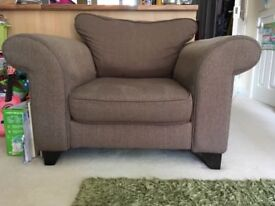DFS 3 seater sofa, chair and storage footstool