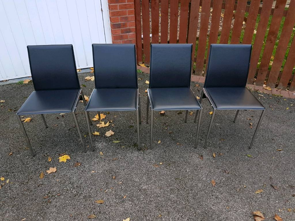 4 Black Faux Leather & Chrome Chairs FREE DELIVERY 094
