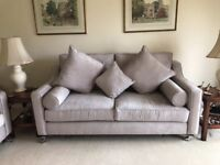 Brand new 2 seater and 3 seater matching settees with ample cushions.
