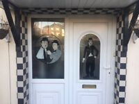 Charlie Chaplin/Laurel and Hardy UPVC door and side window