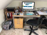 Desk, chair, under desk filing cabinet, suspension filing cabinet and shelf system
