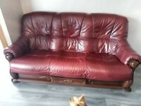 Brown leather and wood suite