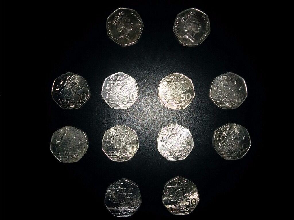 12x1994BattleofBritain 50pcoins.6x1689-1989 billofrights £2 coins,2x DOVES DEI.GRATIA.REGINA.F.D.£2