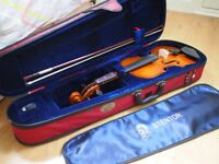 4/4 (full) violin in beautiful red case - rosin, shoulder rest and books included - Great Condition