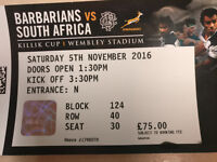 1x South Africa vs Barbarians Rugby Tickets at Wembley - 05/11/16