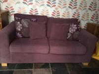 Double purple sofa bed with metal bed frame