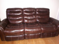Superior leather recliner settee and chair excellent condition. Will sell separately. Price reduced.