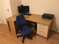 Desk, Drawers and Swivel Computer Chair