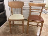 6 1950ies vintage chairs (wood and vinyl seats)