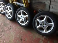 "For sale: 14"" Vauxhall Corsa AEZ Alloy Wheels with Tyres"