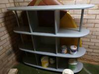 Homebase large wooden shelving unit in silver & chrome