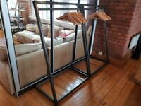 7 Bespoke free standing metal rails with hard wood shelves