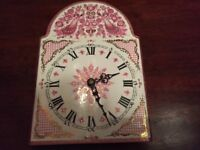 Vintage ARTA enamelled clock face hand-made in Austria. Blue, pink/gold peacocks