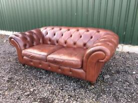 Beautiful Marks & Spencer 3 seater Tan Leather Chesterfield sofa