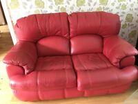 Free red leather 3 seater settee, 2 seater settee and a reclining chair - all in red leather