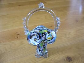 Multicoloured Venetian home decor glass vase basket / Used