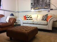 Laura Ashley Mortimer Two Seater Sofa in ivory leather RRP £2400