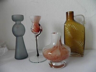 4 Vasen Glass Art Kristallglas Einschmelzungen 70er jahre