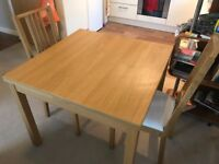 Extending Dining Room Table plus 2 Chairs - Very Good Condition