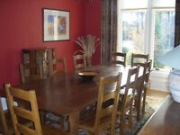 Stunning Hand Made, Solid Oak, Refectory Table with 8 Solid Oak Dining Chairs