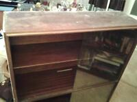 free for up cycling book case solid dark wood with glass doors