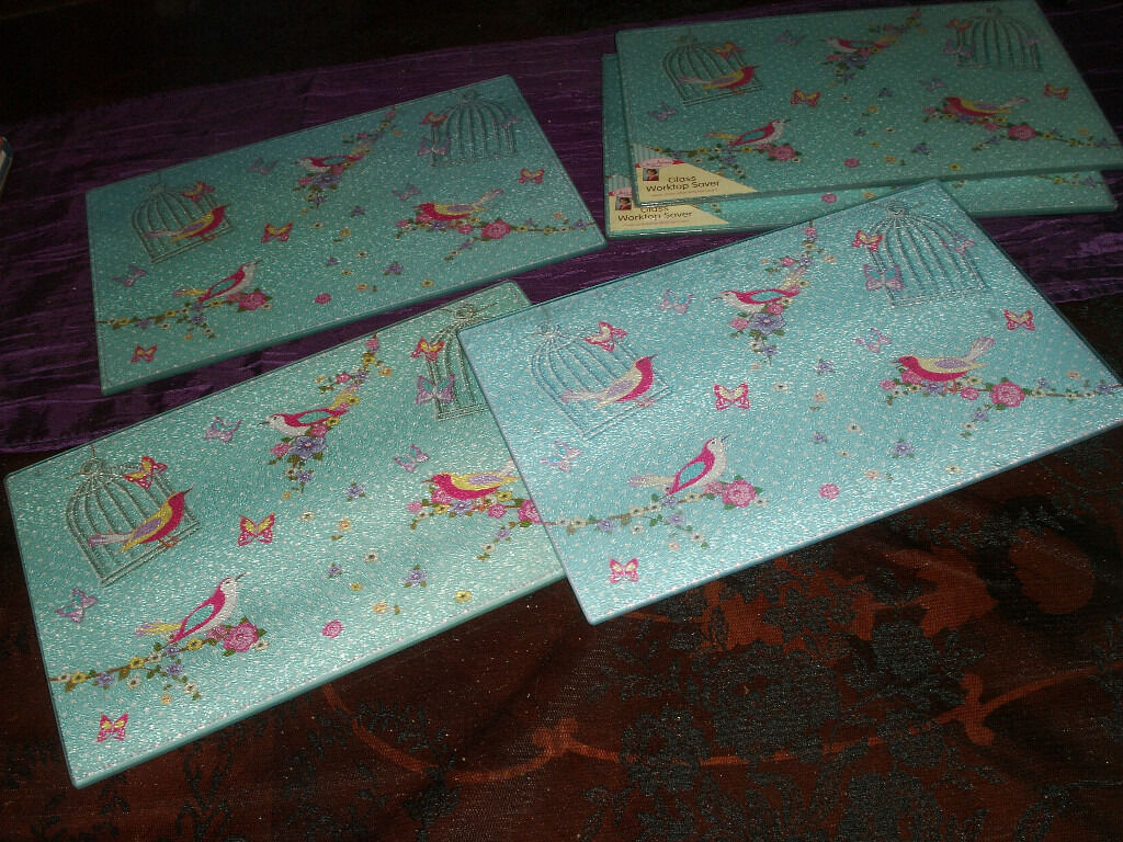 5 x Jane Asher glass worktop savers / place mats - duck egg floral ...