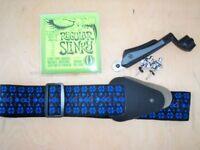 guitar strap +straplocks and string cutter /winder new set of strings
