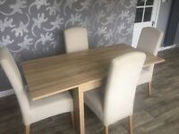 NEXT HOME dining table with 4 chairs ( 6 months old ) cost £800