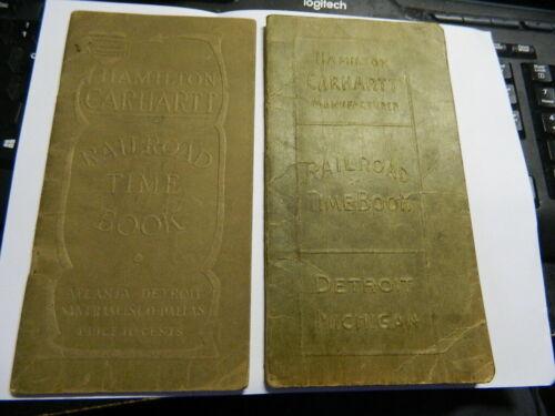 RARE 2- Hamilton Carhartt railroad time books train 1914 1919 ephemera