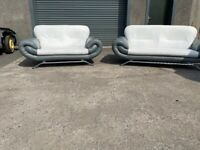 Grey leather 3&2 seater sofas couches furniture 🚛🚚
