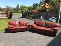 3&2 seater sofa in a brown leather Hyde-looks red in sun but is chestnut brown £299