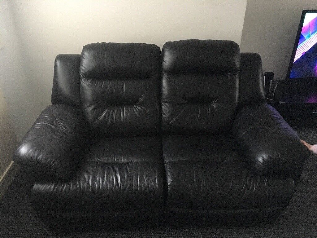 3 + 2 seater leather reclining couch