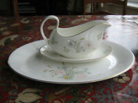 Royal Doulton Flirtation gravy sauce boat and meat platter