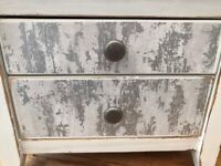 Pair Upcycled Silver Grey Crafted Decoupage Shabby Chic Bedside Tables Drawers