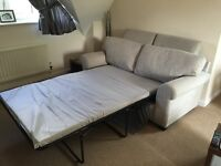 2 Seater Double Sofa Bed in Light Grey Fabric - Excellent Condition