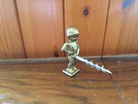 Antique brass boy corkscrew
