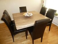 Marble Dining Table & Six Black Leather Chairs