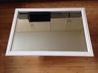 Mirror with bevel edge glass, painted pine, colour antique white smooth finish excellent condition.