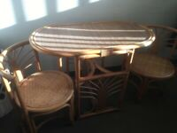 Cane table with 2 chairs