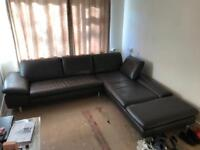 Large brown leather great quality corner suite sofa settee