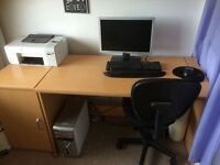 Desk, cupboard and chair good condition