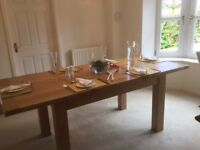 Oak Extending Dining Table and Six Faux Leather Darcy Chairs