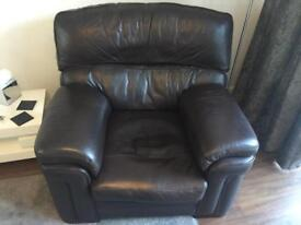 Leather sofa and cahir