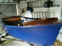 12ft fibreglass open fishing boat and 14ft trailer