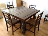 Large dark stained pine victorian style ? Table with 4 or 6 chairs