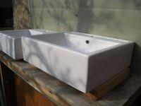 Countertop/Wall Mounted N&C Vanity Ceramic Square Basin
